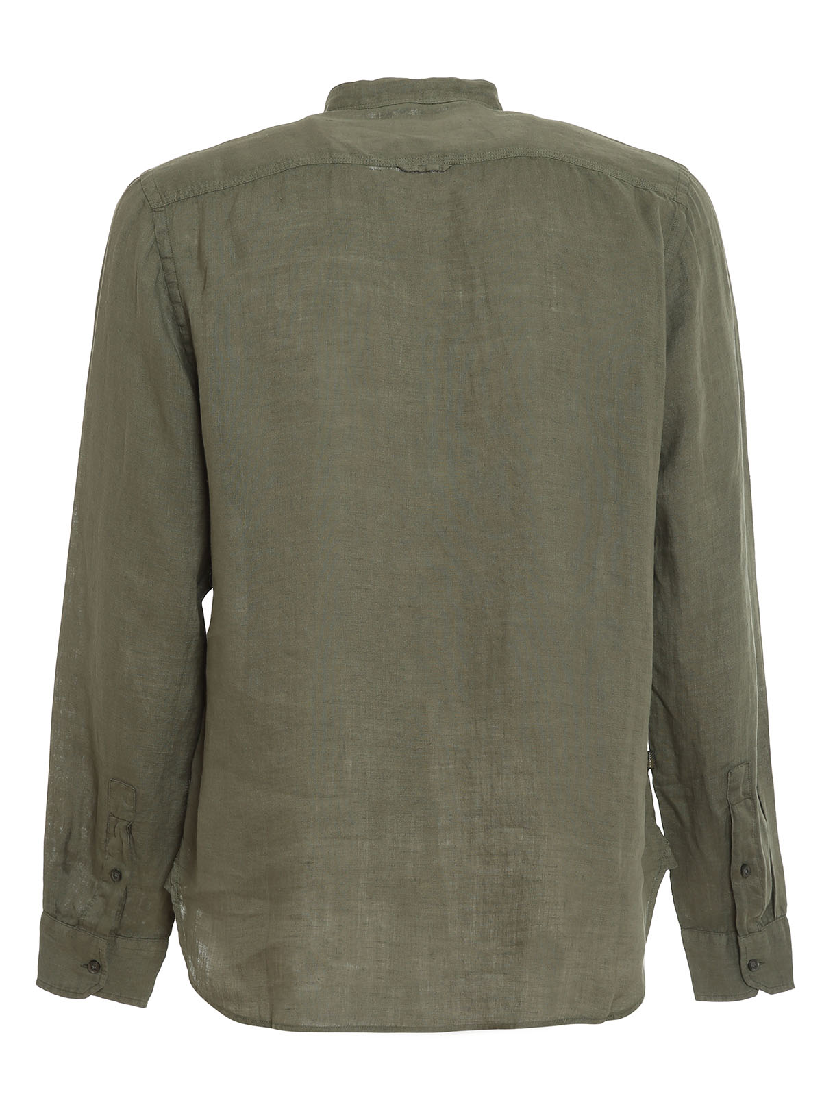 Picture of Woolrich | Linen Band Collar Shirt
