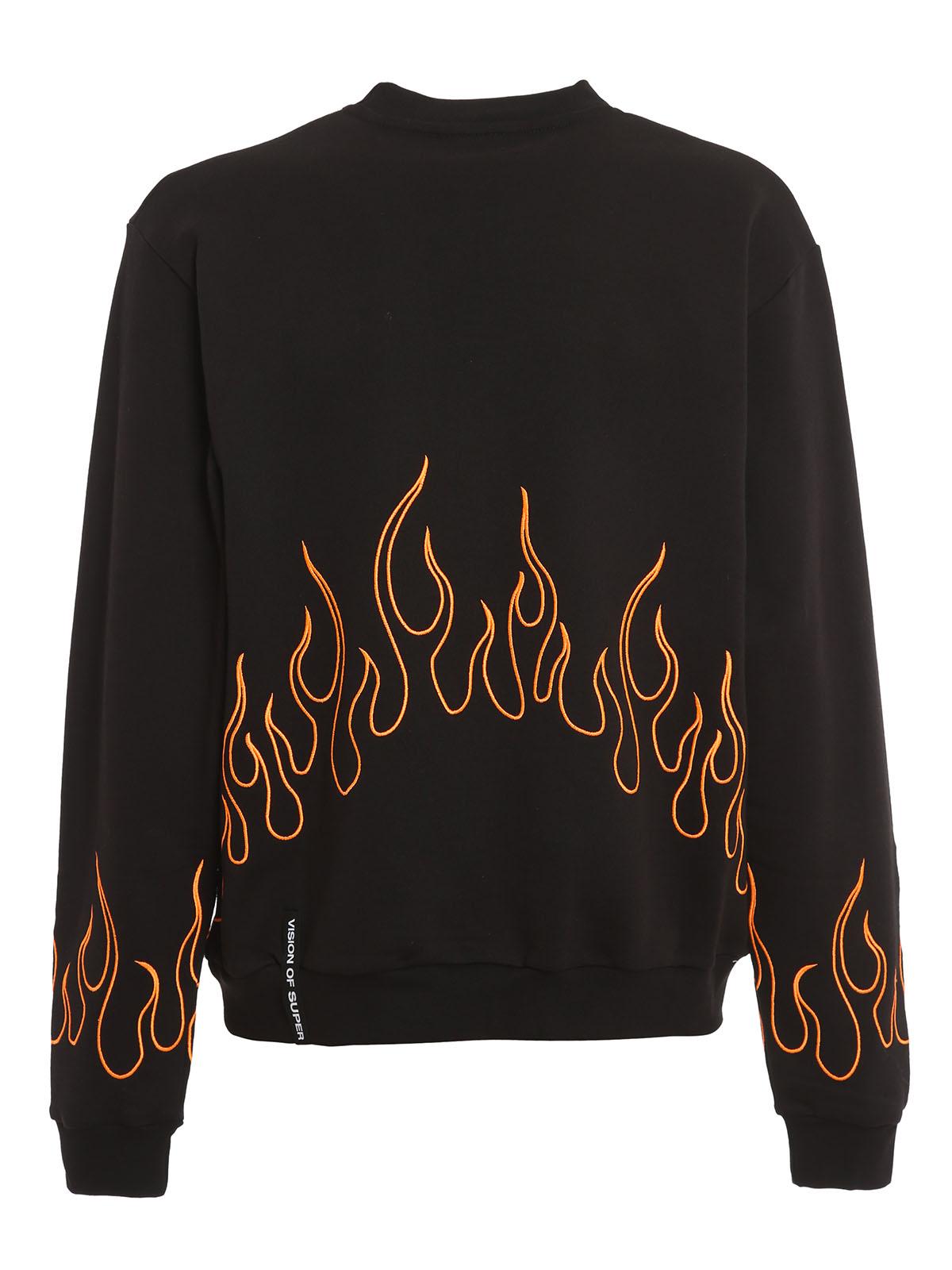 Immagine di Vision Of Super | Crewneck Orange Embroidered Flame