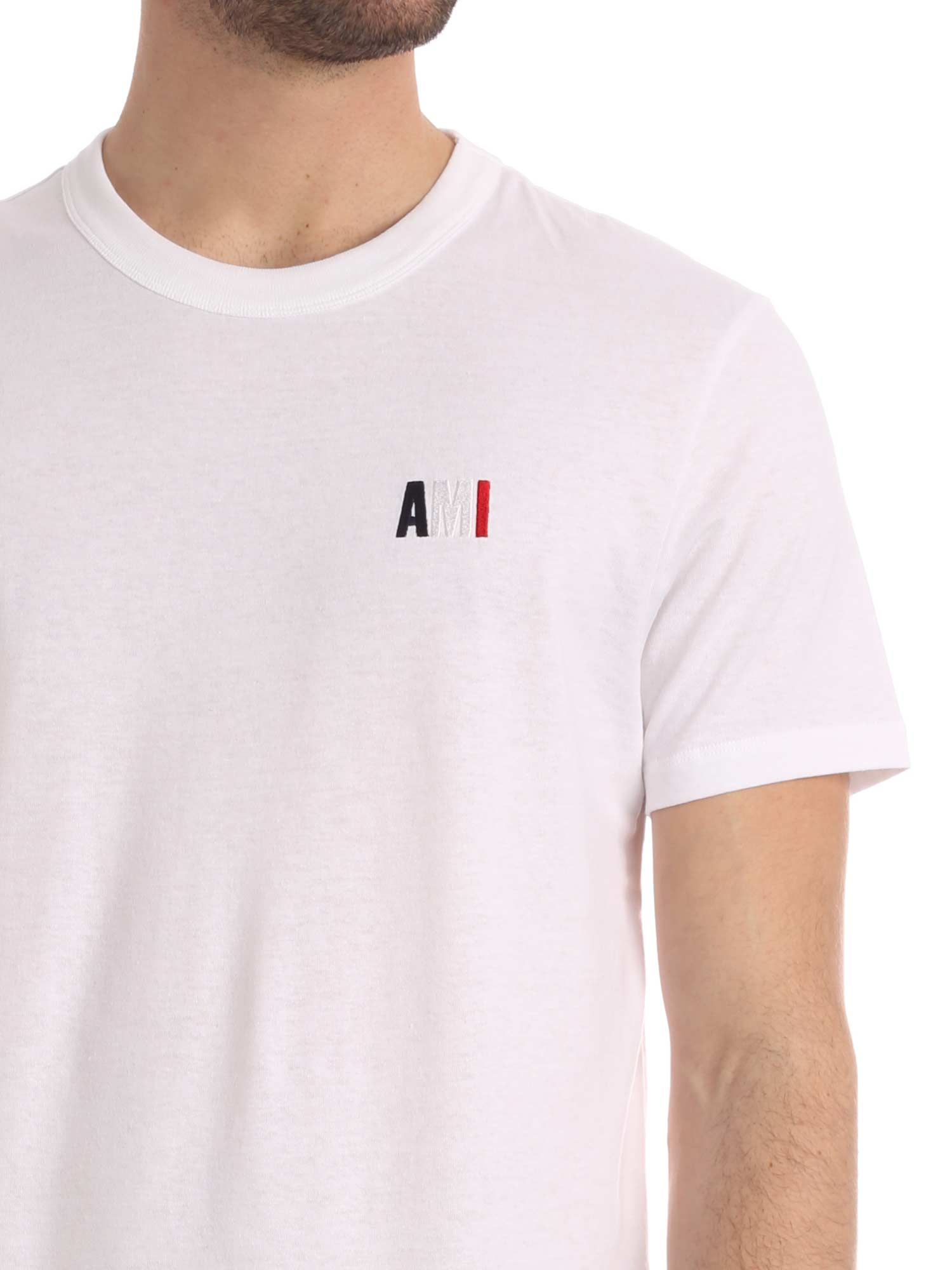 Picture of Ami | Crewneck Tee With Blue White Red Ami Embroidery